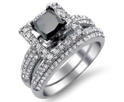 ❤ Black Princess Cut Diamond Engagement Ring Wedding Set ❤