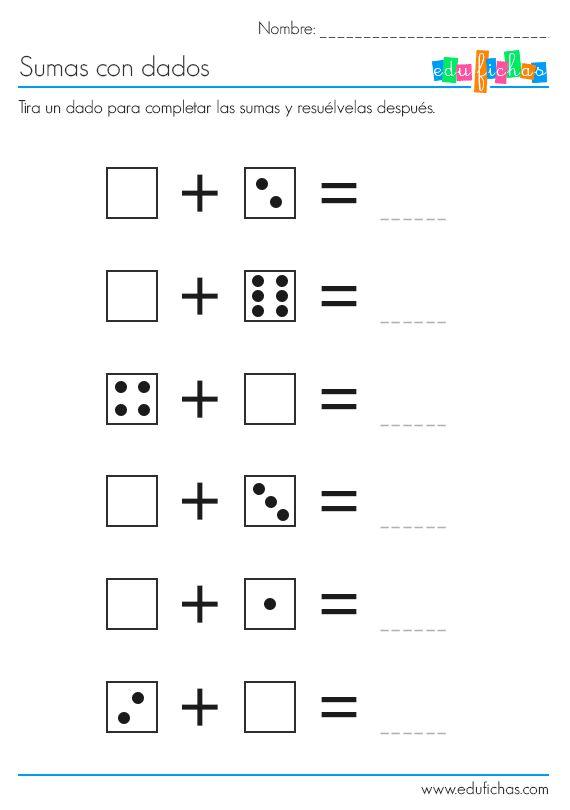 sumas con dados ficha 1 http://www.edufichas.com/actividades/matematicas/sumas/sumas-con-dados/  #sumas #dados #actividades #aprenderjugando