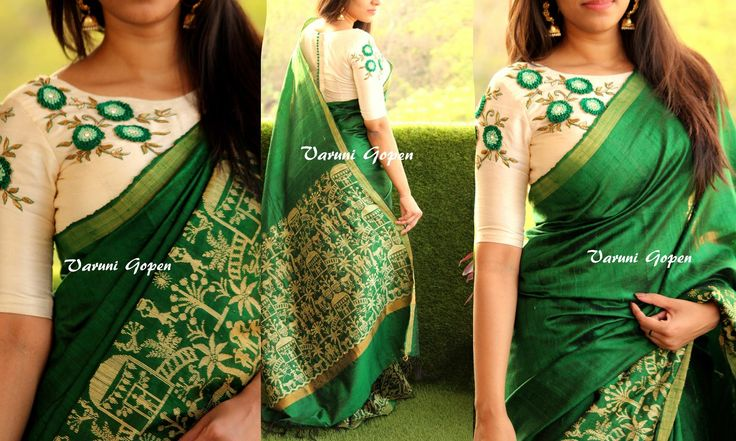 Beautiful green handloom saree with embroidery designer blouse from Varuni gopen.Code - Green HandloomPrice 7850 Rs (Includes blouse embroidery)Email varunigopen@gmail.comwhatsapp 9849125889  01 May 2017