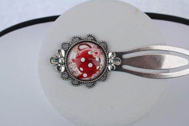 Metall - Lesezeichen Blumenrand silber rot Teekanne weiß - ein Designerstück von…