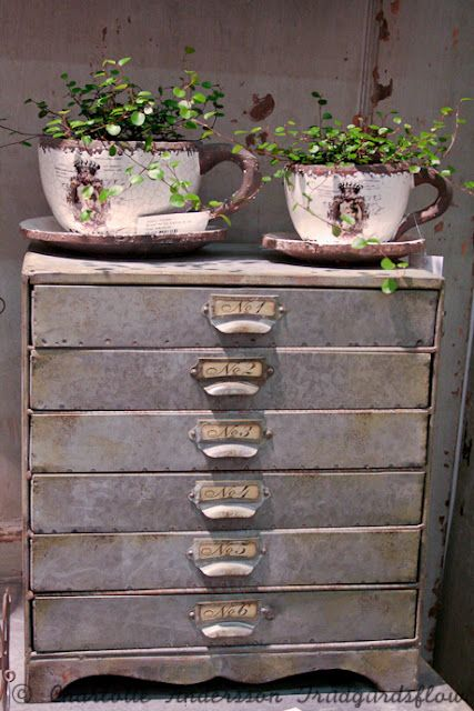 love the big tea cups on this old chest which would be a great hidden storage for garden tools...