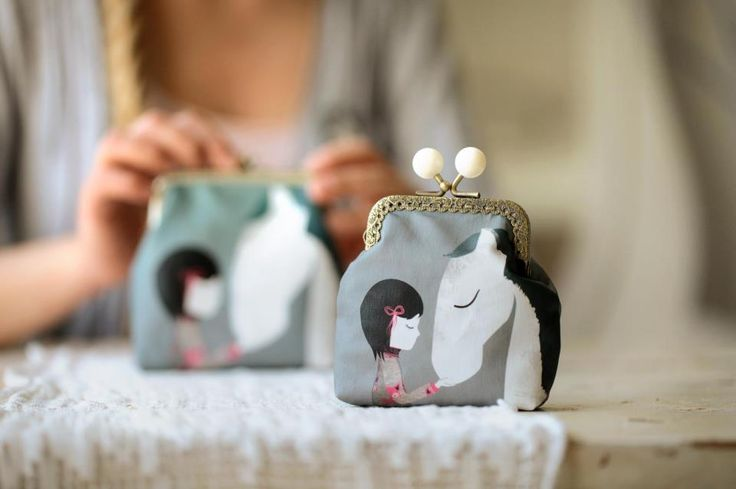 Handmade purse with the beautiful moment of friendship by Rosehip. http://caleidostore.com/designers/rosehip/