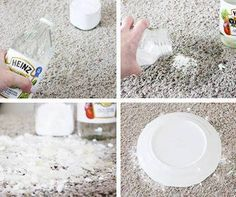 Pet potty spots on the carpet. . The steps are the important part. Pour enough vinegar to soak the stain and THEN add a small amount of baking soda.  Do it the right way, and you can hear the recipe cackling away, telling you how it is cleaning and deodorizing without leaving any residue. You need to let the spot dry for a day or two before sweeping up and then vacuuming.  You can actually see the yellow color being absorbed up into your little mountain of baking soda. Works on old stains…