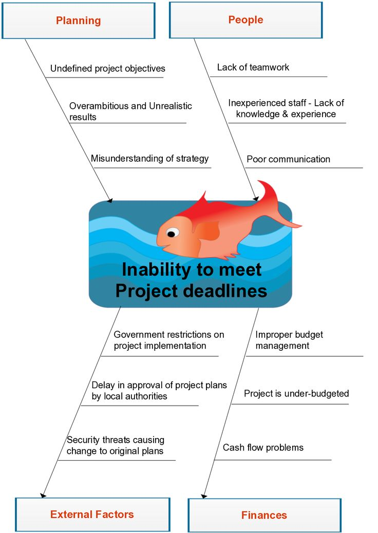 Fishbone diagram example showing the Inability to meet Project Deadlines in an organization