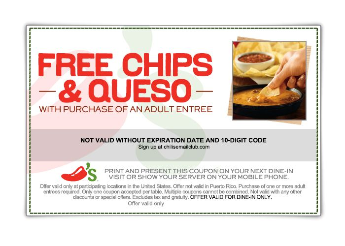 Free Chilis Coupons By Mail For July