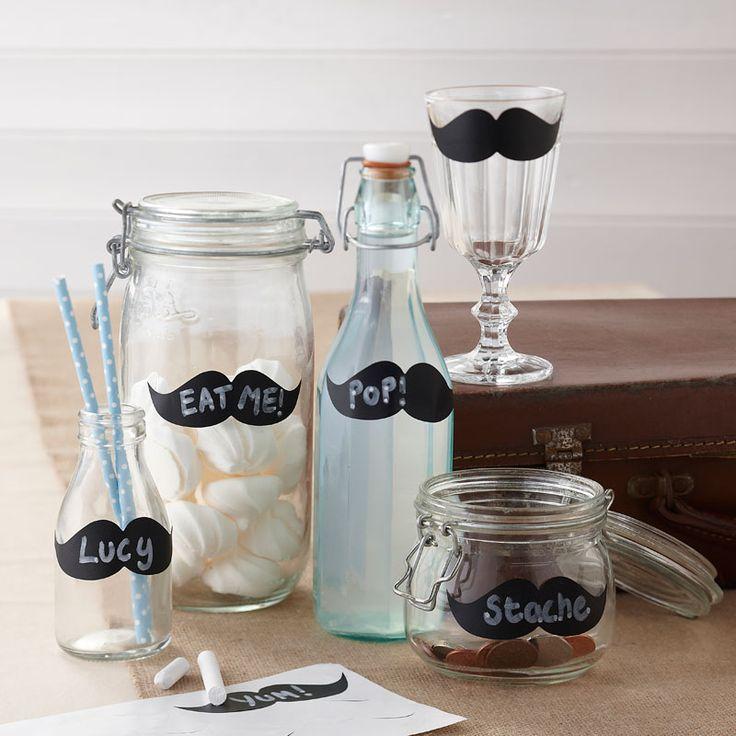 : Moustache Chalk Labels - Vintage Affair #HatchandBlossom