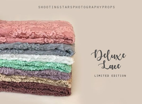 "This Deluxe Lace Overlay Sheer Fabric is perfect to use as a photography backdrop for those 'birds eye in basket' shots, folded/stuffed as a basket stuffer or draped as beanbag cover. They measures 1.5m x 1.5m approx (60"" x 60"") and is available in 7 colours: Guava Pink, Smoke Grey, Snow White, Dusty Lilac, Teastain Gold, Mulled Wine and Mint Fresh. This fabric has RAW UNFINISHED EDGES and is SHEER - meaning you will need an underlay.  Also available separately in our ..."