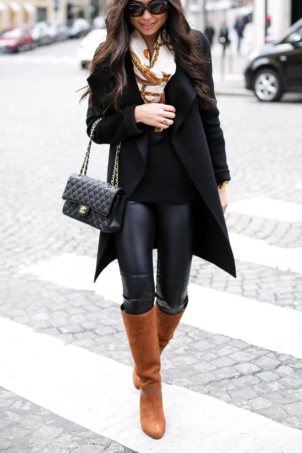 Leather leggings + brown boots.