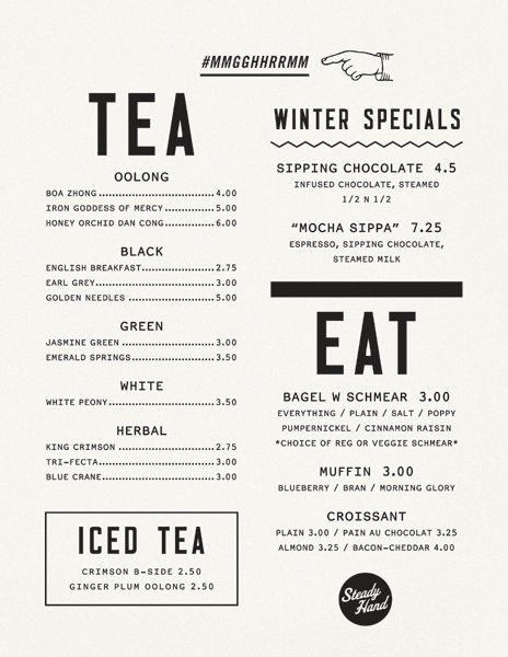 Menu design typography