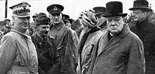 Sikorski (left) with Polish General Marian Kukiel, Clementine and Winston Churchill, and Polish ambassador Count Edward Raczyński