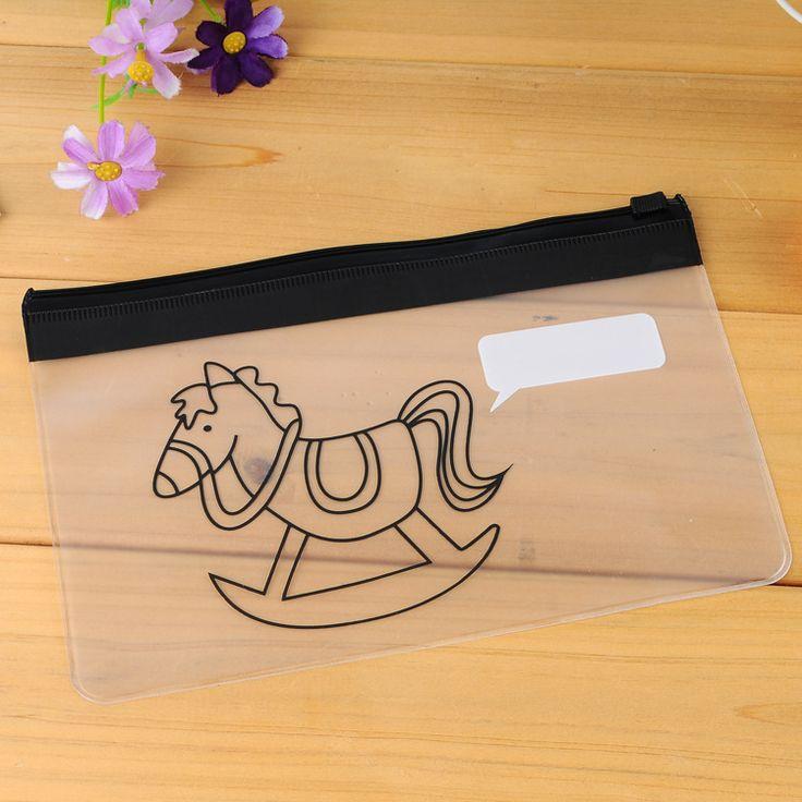 La venta del nuevo transparente de dibujos animados lindo Pony potro portátil maquillaje lápiz de la pluma caso cosmético del bolso de bolsillo de Pounch 2 unidades en Estuches de Lápices de Escuela y Oficina en AliExpress.com | Alibaba Group