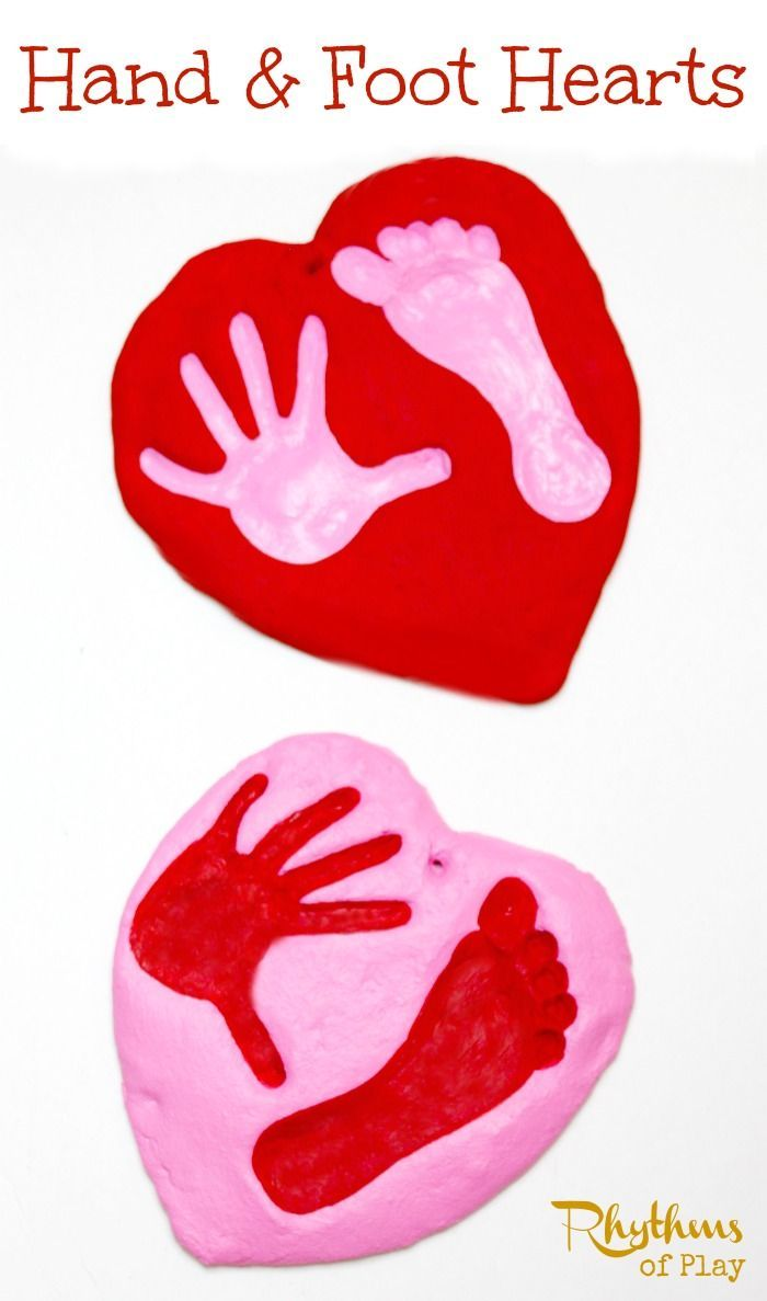 Simple valentine crafts for toddlers - Salt Dough Hand And Foot Heart Keepsake Valentine Crafts For Toddlersgifts