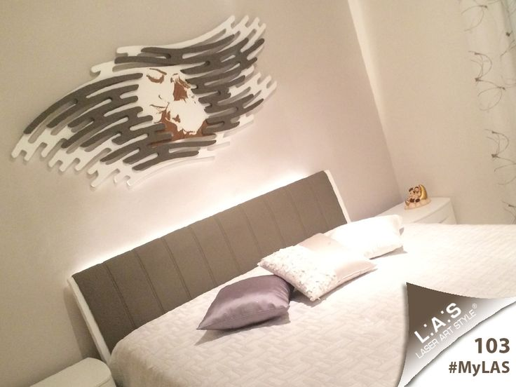 #MyLAS Welcome to Carla's #home! #bedroom #design #homeinspiration #interiors http://www.laserartstyle.it/home/gallery/my-las/ SACRED WALL SCULPTURES | CODE: SI-160 | SIZE: 165x73 cm | COLOUR: cream and grey dove application