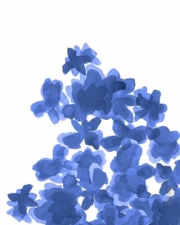 Indigo Watercolor Flowers Art Print 8x10 Minimalist