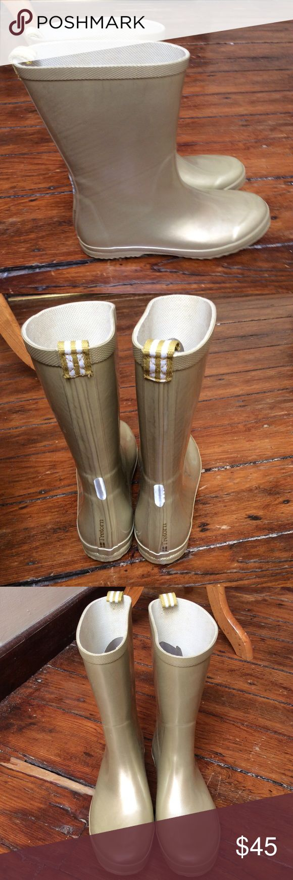 Tretorn Metallic Gold Mid Calf RUBBER RAIN BOOT 38 Make this yours! New without box Tretron Mid Calf Metallic Gold Rubber Wellies Boots! Great for rain or snow!  Retail price $80.  The Measurements: Women's Size 38, Approx. US Size 7.5 or 8. Tretorn Shoes Winter & Rain Boots