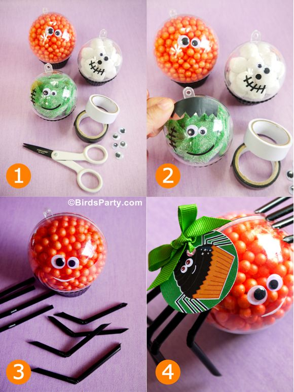 Halloween Crafts for Kids: Little Monster Candy Baubles