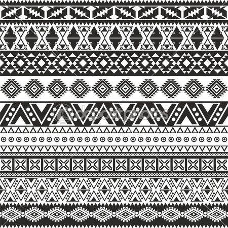 padrão sem emenda tribal - asteca fundo preto e branco