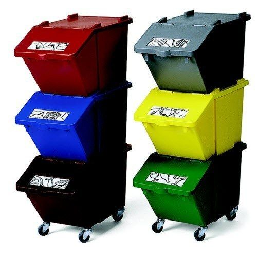 Stackable recycling bins.   25 Ingenious Products That Will Save You So Much Space - don't know if it actually saves space, but it will help with having a compost.