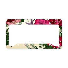 Vintage Pink Floral Design License Plate Holder on CafePress.com