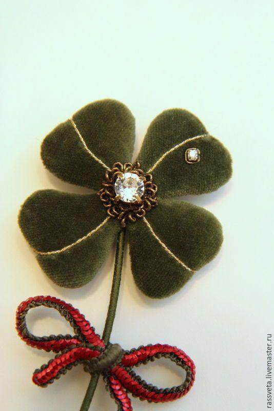 Купить Брошь,,Клевер ,, - тёмно-зелёный, подарок, подарок подруге, подарок на день рождения