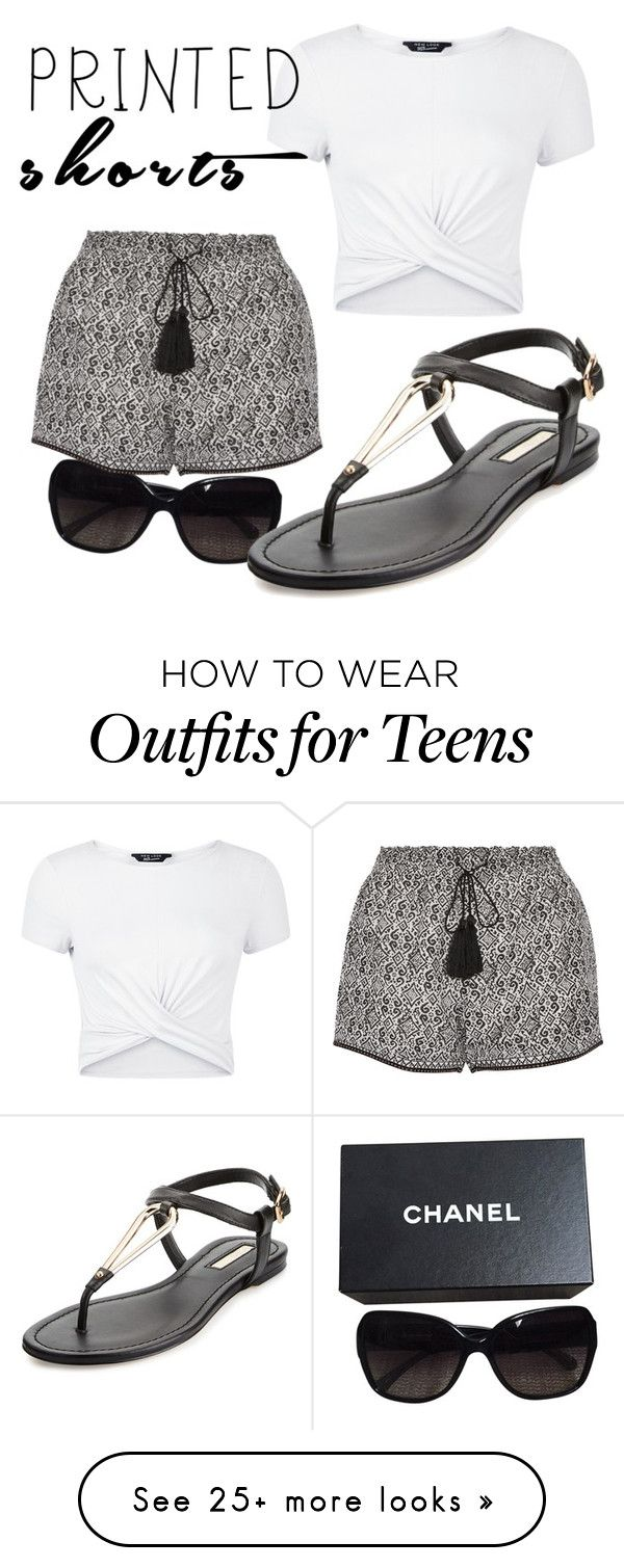 """""""Untitled #3"""" by nsp-13 on Polyvore featuring Chanel, Talitha, New Look, BCBGeneration and printedshorts"""