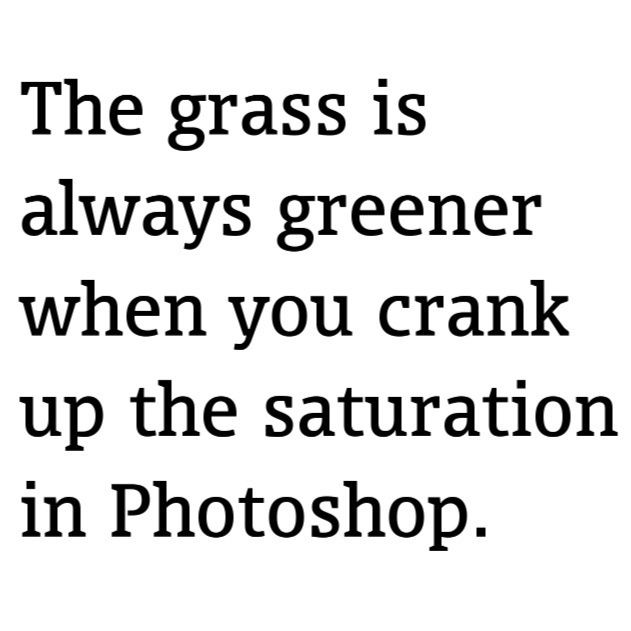 the grass is always greener when you crank up the saturation in photoshop.