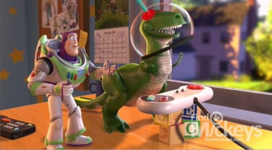 There is a Hidden Bugs Life in this scene of Toy Story 2 when Rex loses to Emperor Zurg.