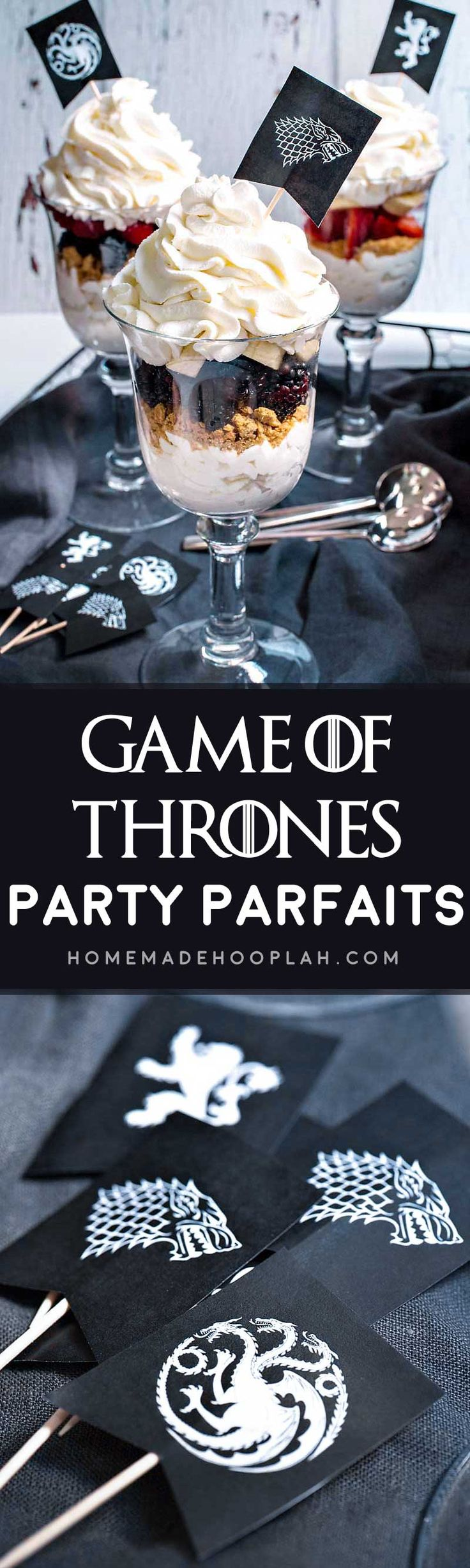 Game of Thrones Party Parfaits! Have your Game of Thrones viewing party in style with these fun party parfaits! Includes a quick and easy tutorial on how to make the flags, too! | HomemadeHooplah.com