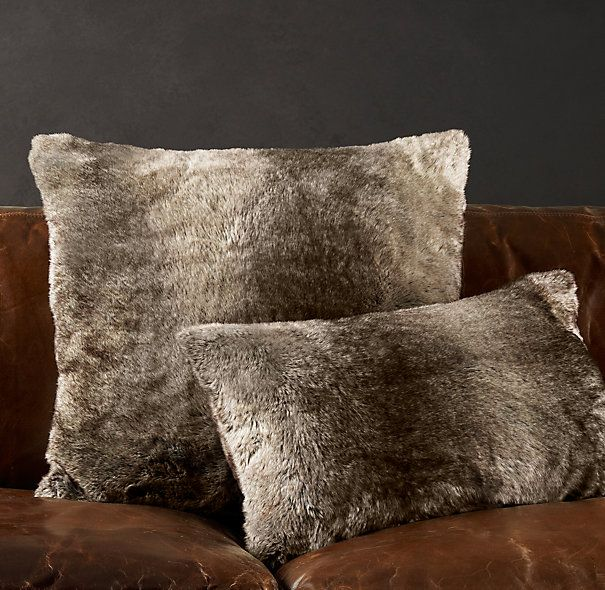Throw Pillows Rust : Luxe Faux Fur Pillow Covers - Mink Restoration Hardware ... to match our throw from @Danica ...