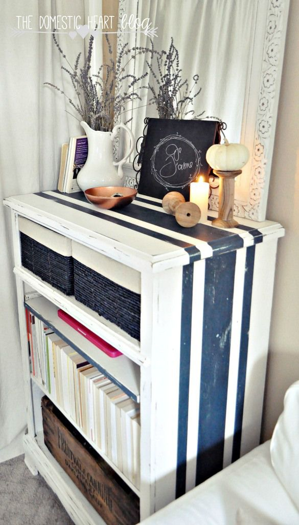 Navy & White Nautical Stripe Dresser redo. Drawers removed to make room for baskets