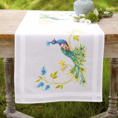 Peacocks Table Runner Stamped Cross-Stitch Kit  Herrschners