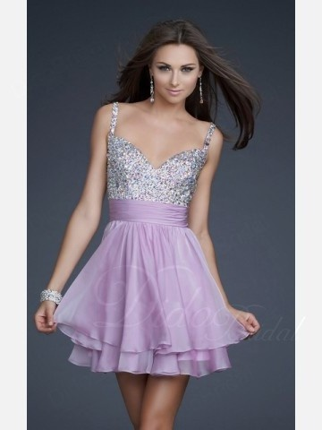 Didobridal.com: Lavender Cocktail Dresses | A-line Sweetheart Cocktail Length Chiffon Lavender Cocktail / Sweet 16 Dress