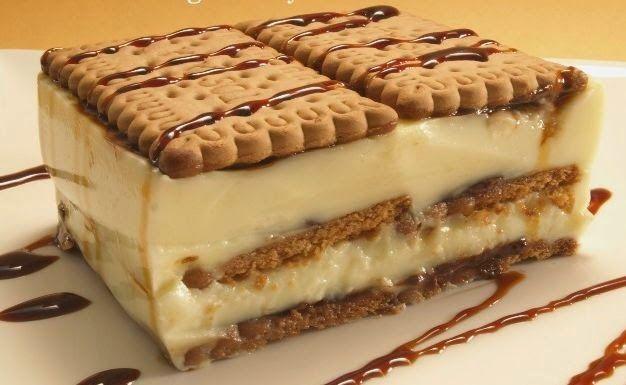 Tarta de Galleta y Crema de Chocolate Blanco            INGREDIENTES PARA12RACIONES APROXIMADAMENTE:   150 gr. de chocolate blanco   25...