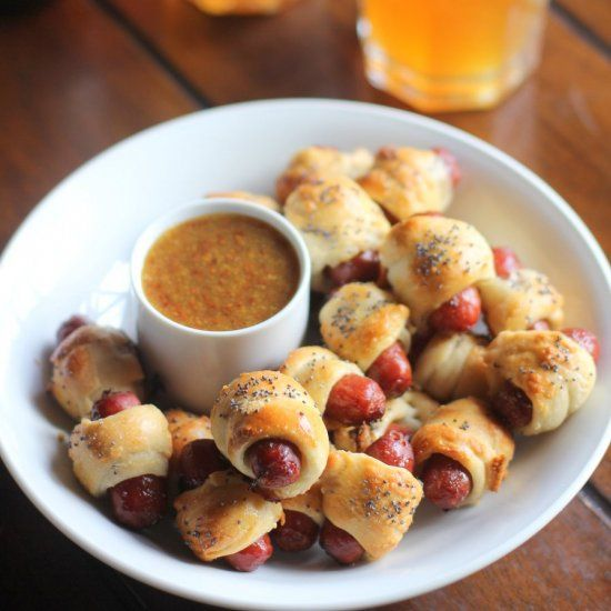 Pigs in a Blanket wrapped in Soft Pretzels. What could be better for game day?!