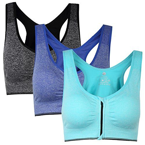 Womens Zip Front Padded Sports Bra Racerback Yoga bras for Women with Headband Set Pack of 3 M. Front Zipper Closure: This is a combination of bodybuilding style and fashion style zipper bra,gives an ultra feminine look;Secure full-length front-opening zipper for easy on and off with safety hook for added reassurance;The zipper works great and once it is close in place, it does not unzipped;Also, both zippered ends have a piece of fabric guard/cover to protect your skin and keep the zipper…