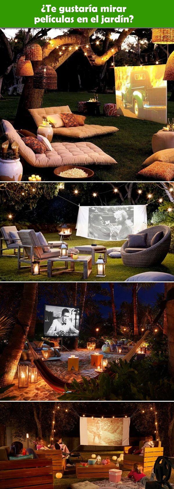 Ideas para montar una sala de cine al aire libre en el jardín. Reuniones al aire libre. Cine en el jardín. Sala de cine en el jardín.