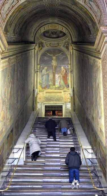 The Scala Sancta, located in a church opposite the Basillica of St. John Lateran in Rome, are a set of 28 marble stairs and are said to be the stairs that Jesus climbed on the way to his trial before Pontius Pilate during his Passion. The stairs were brought from Jerusalem to Rome by Saint Helena in the 4th century AD.