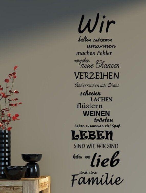 """Wandtattoo Spruch Familie """"WIR"""" Familienspruch Wandaufkleber 75x25cm B387"""