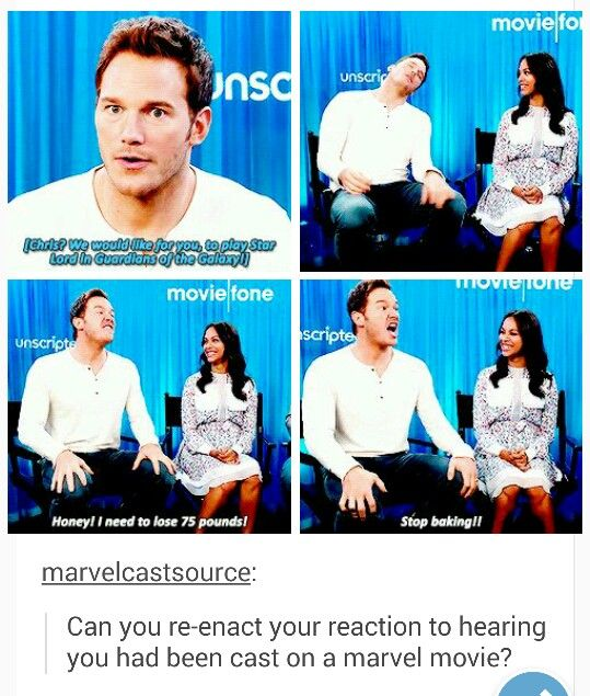 Chris Pratt on getting the Star Lord role, this is hilarious! Holy crap! How adorable is he??!