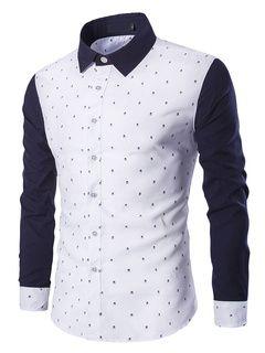 Color bloque camisa camisa de algodón de la impresión para los hombres