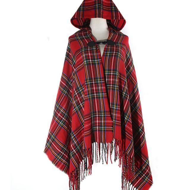 New Womens Ladies  Hooded Checkered Tartan Shawl Wrap Check Grey Blanket Cape