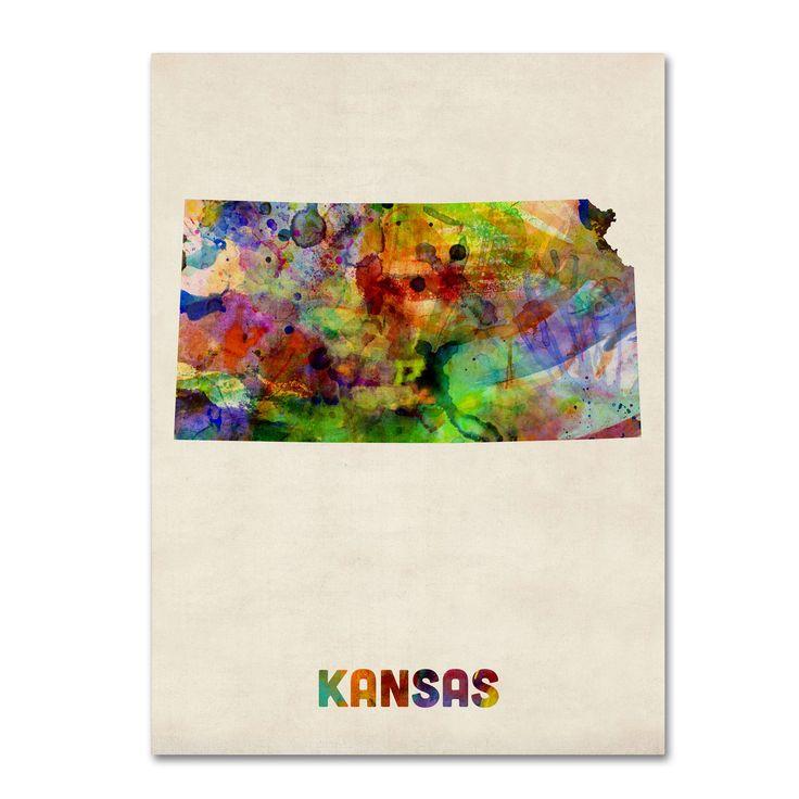 'Kansas Map' by Michael Tompsett Graphic Art on Canvas
