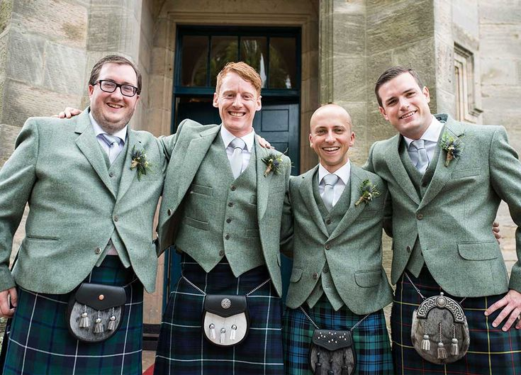 These four guys have dressed to impress in green jackets and tartan kilts that would be perfect for a country garden wedding. The outfits would look gorgeous with green bridesmaid dresses and some ivory wedding flowers sported by the bridal party.