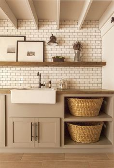 Laundry prep area, shelves for basket's
