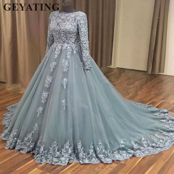 Elegant Ball Gown Muslim Wedding Dress with Long Sleeves Lace Appliques Bridal Gowns Islamic Saudi Arabia Grey Wedding Dresses
