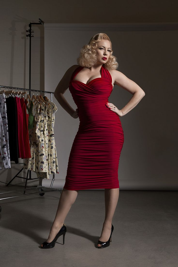 Traci Lords Traci Dress in Red for Couture for Every Body | Vintage Style Cocktail Dress | Pinup Girl Clothing