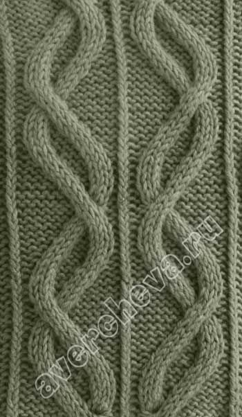 Slanted cables - on 41 stitches, with diagram