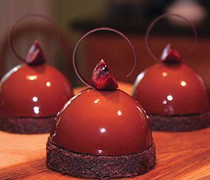 Josh Johnson, Sur del Lago Chocolate Mousse, Chocolate Cremeux, Cherry Compote & Chocolate Pound Cake.