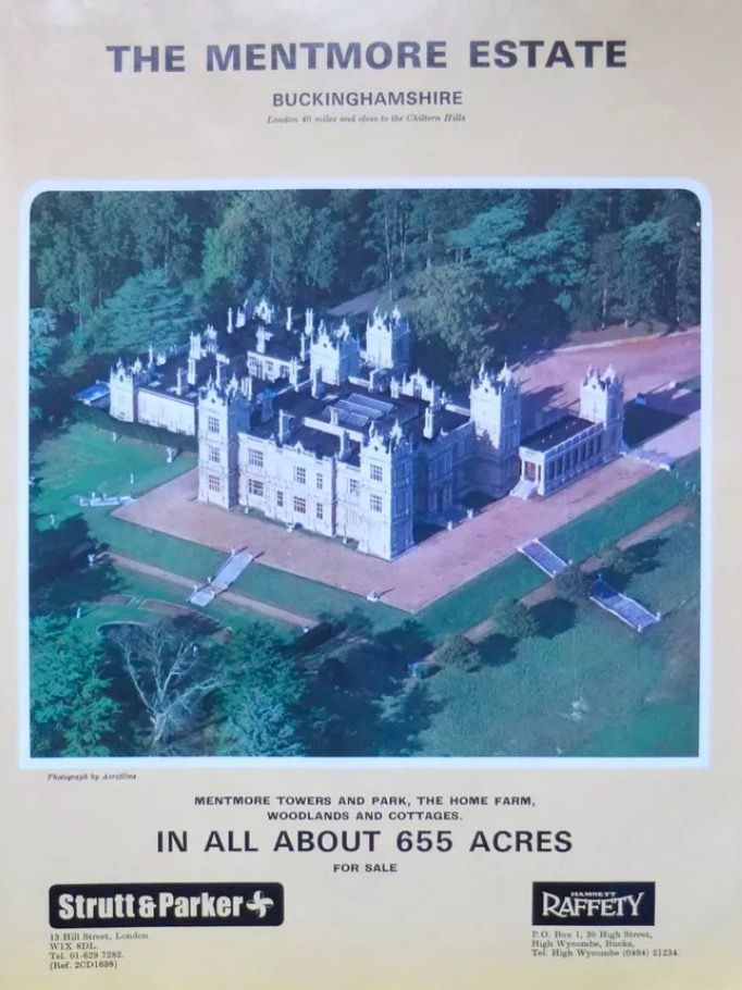 The Mentmore Estate for sale 1977, Now a country house hotel.