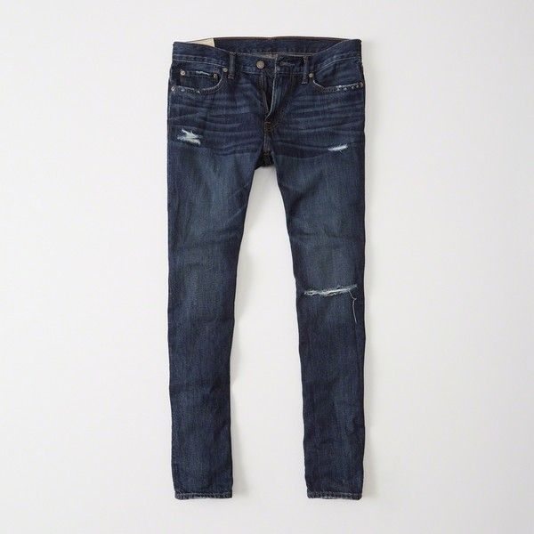 Abercrombie & Fitch Skinny Jeans (160 BRL) via Polyvore featuring men's fashion, men's clothing, men's jeans, ripped dark wash, mens dark wash jeans, mens skinny jeans, mens button fly jeans, mens distressed jeans e mens super skinny jeans